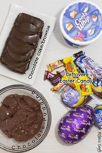 ingredients that will go into trifle, candy, cake, chocolate pudding, cool whip