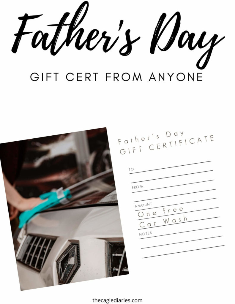 gift certificate for fathers day with car being washed