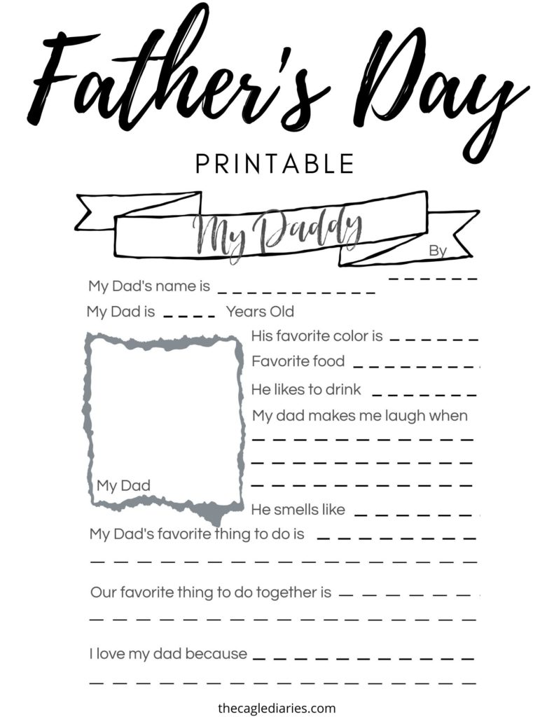 father's day printable to be used in the classroom for each child to describe their dad