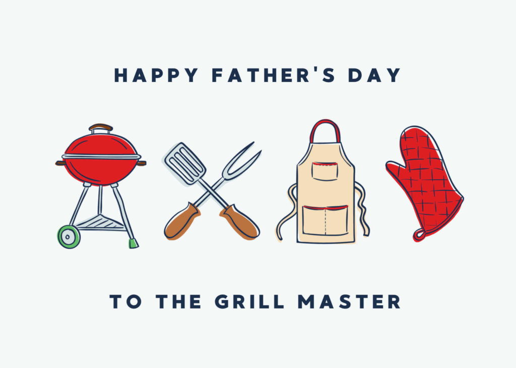 picture of bbq grill and forks and apron and glove - fathers day card