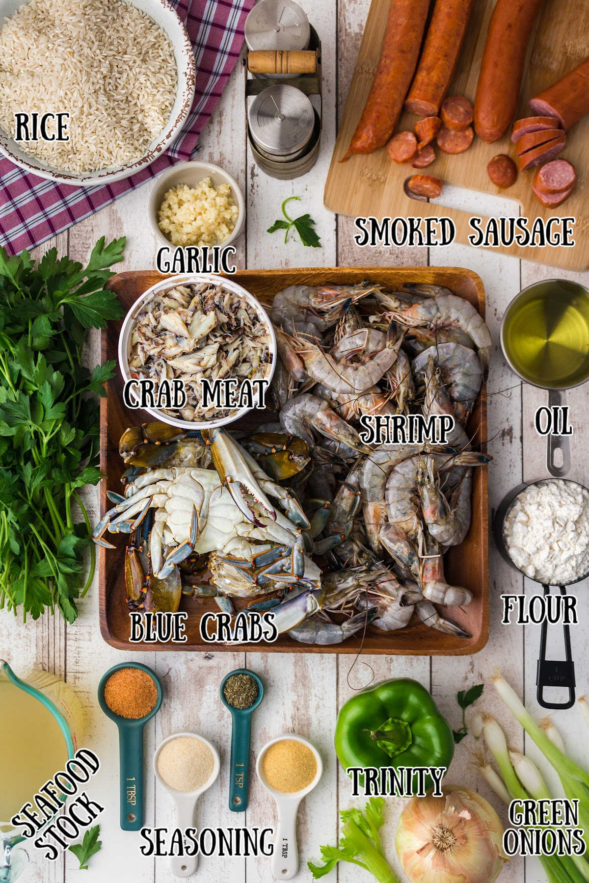 ingredients image for a seafood gumbo