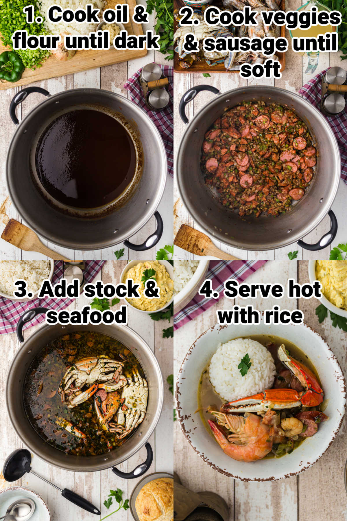 four instructional shots on how to make a seafood gumbo