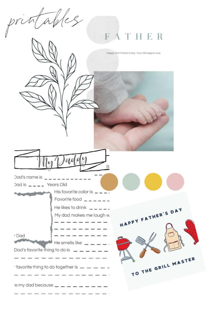 collage of printable sheets