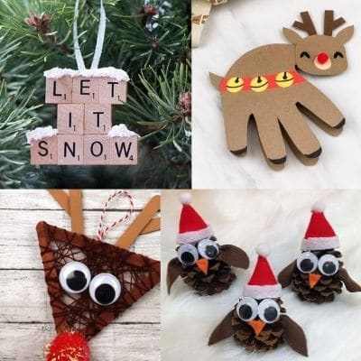 owls made out of pinecones, reineer made from popsicle sticks, decoration made from scrabble tiles and handprint card for christmas craft ideas