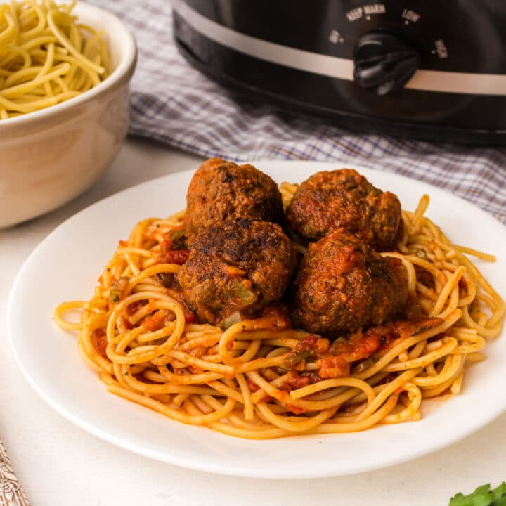 close up of a plate of spaghetti and meatballs with a crock pot in the background