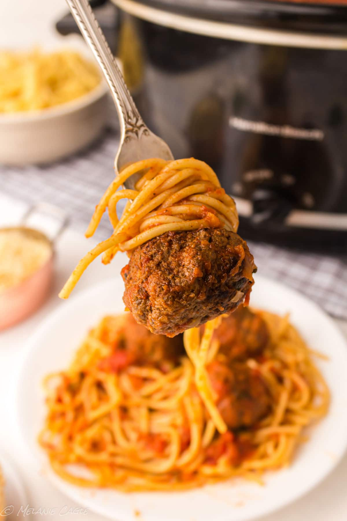 a close up of a meatballs on a fork with spaghetti