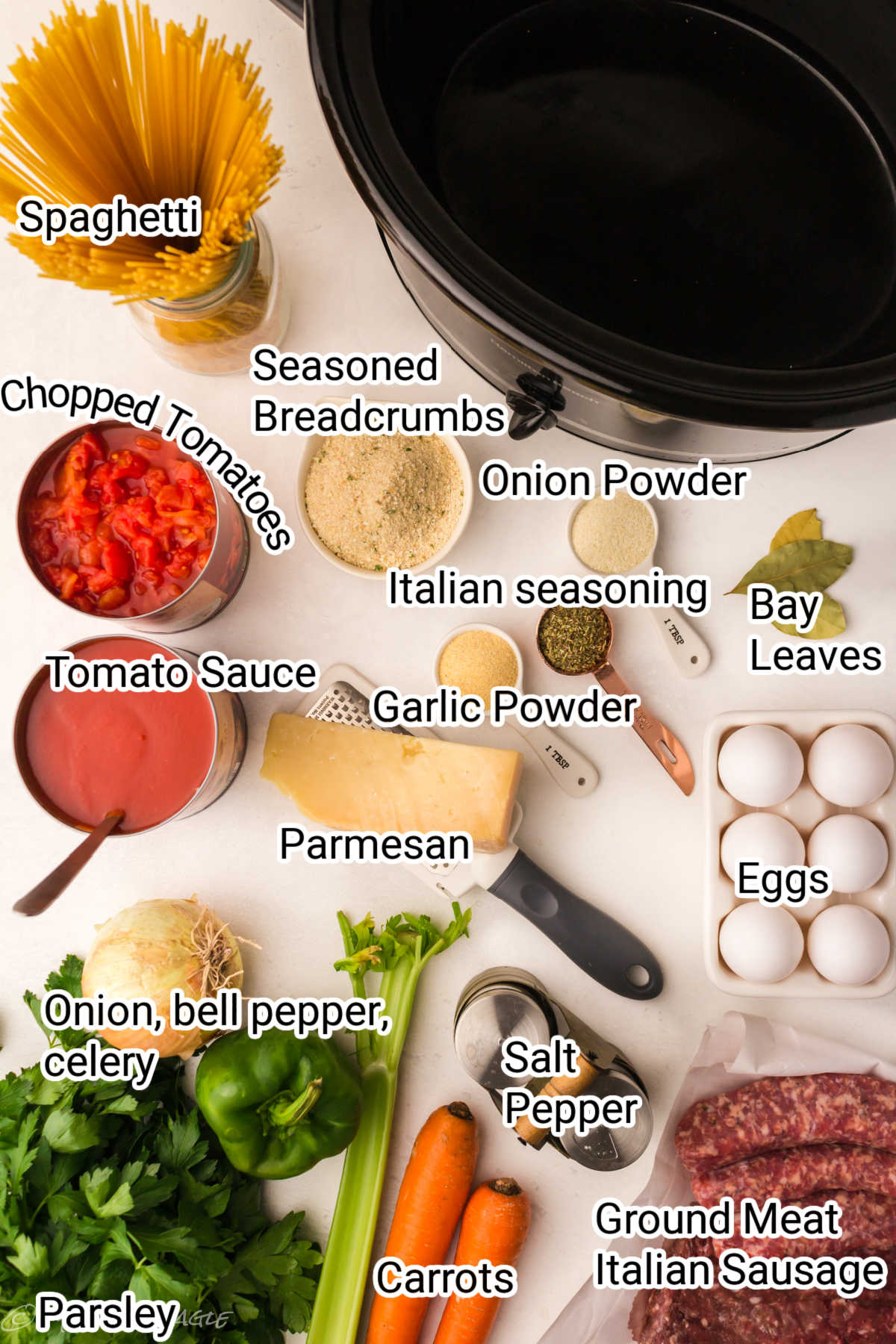 spaghetti and meatballs ingredients all laid out with the names of the ingredients overlaid