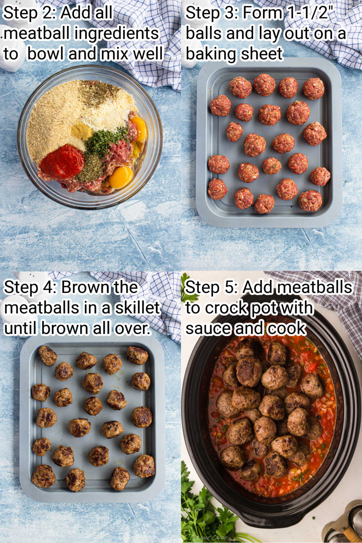 four images showing steps of how to make crock pot spaghetti and meatballs