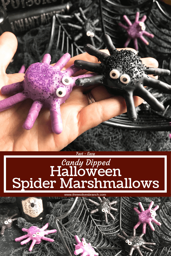Somebody's hand holding two spider treats made from marshmallow and pretzels, dipped in colored chocolate and candy eye balls added for fun.