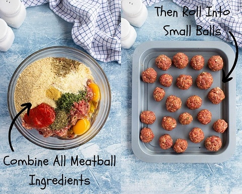 Collage of a bowl with meatball ingredients, breadcrumbs, ground meat, eggs, parmesan cheese, seasoning and on the right, the mixture made into meatballs.