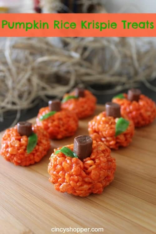 Orange rice krispie balls with a tootsie roll in the top to make it look like a pumpkin.