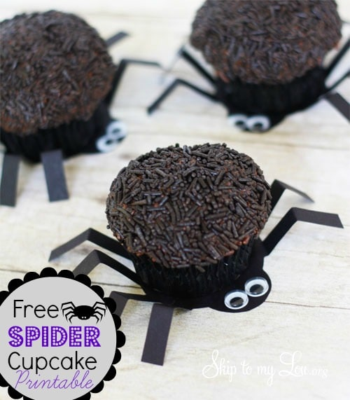 Chocolate cupcakes with chocolate sprinkles on top.  The cupcake is sitting on top of a cardboard cutout of the body of a spider to make it look like the cupcake is the spider's body.