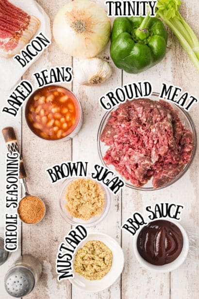 ingredients spelled out for southern baked beans