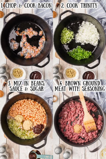 4 steps showing how to make southern baked beans.