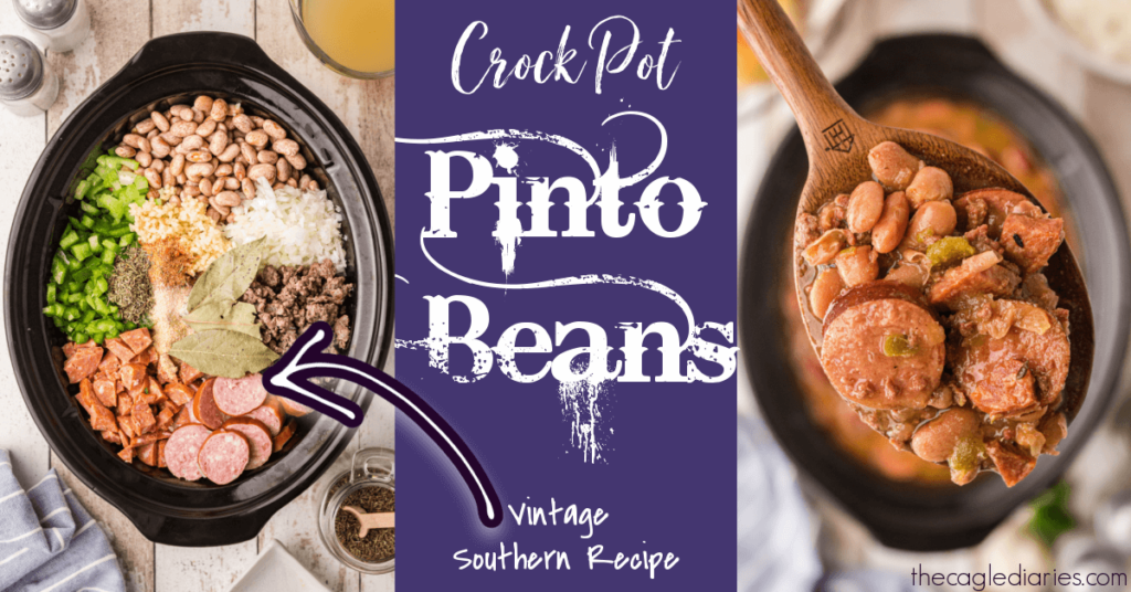 crock pot with ingredients laid in a pretty format on the left.  Completed pinto beans with a spoon full on the right