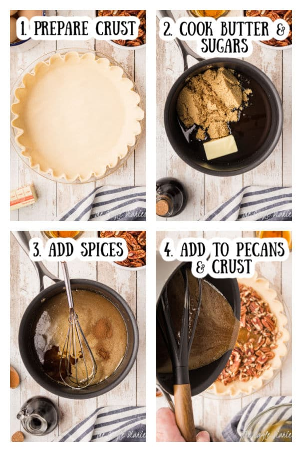 4 steps of how to cook a pecan pie.  1. prepare the crust.  Image shows a pie crust in a dish.  2. cook butters and sugars.  Image shows pan with butter and sugar in it.  3. Add spices.  Image shows pan with previous ingredients with spices added to it.  4.  Add mixture to the pecans and pie crust.  Image shows mixture being added from the pan.