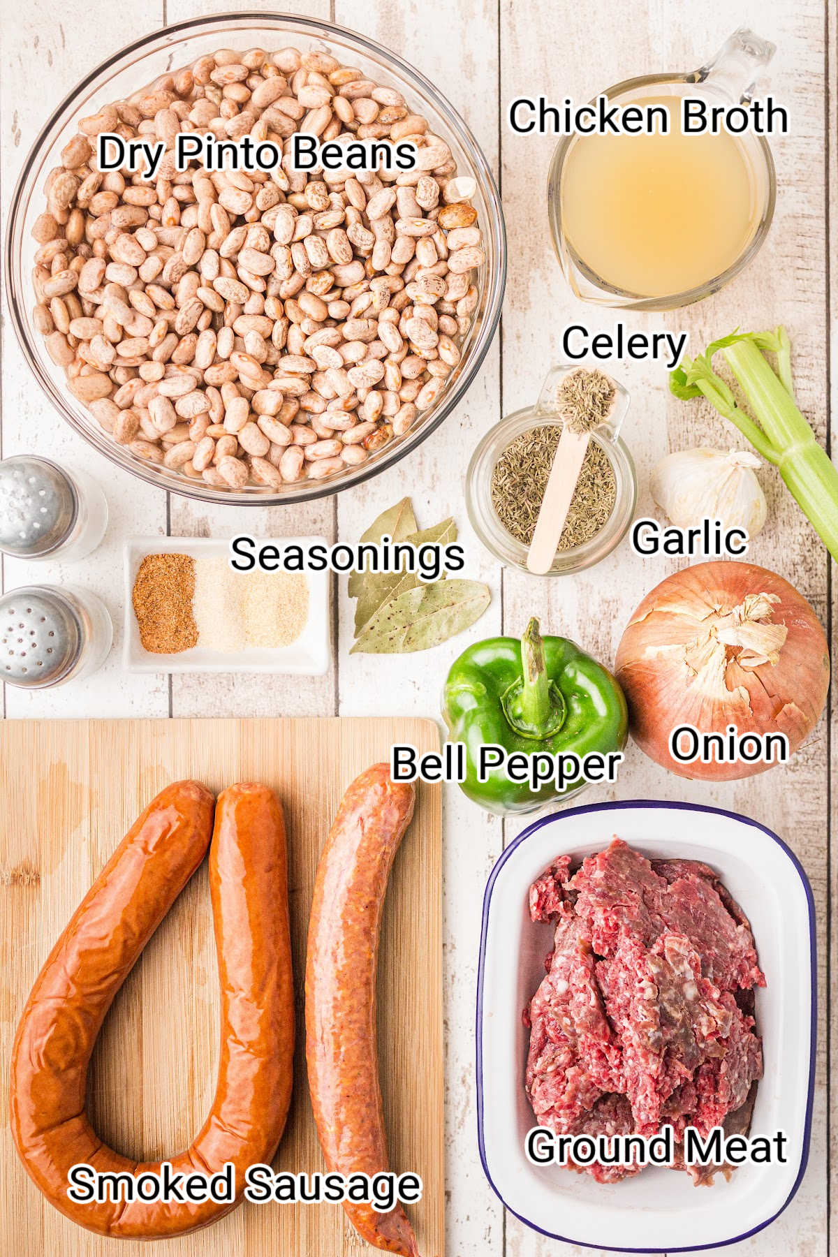 ingredients for some crock pot beans and ham laid out