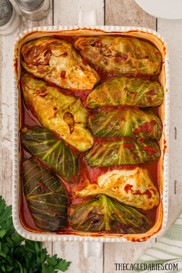 dish with cabbage rolls baked in tomato sauce