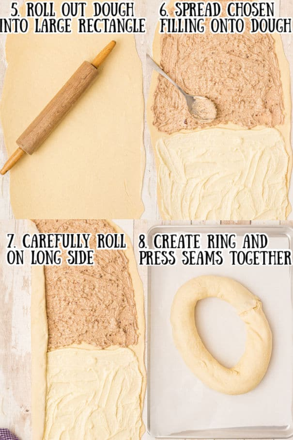 recipe collage of four images showing how to make king cake
