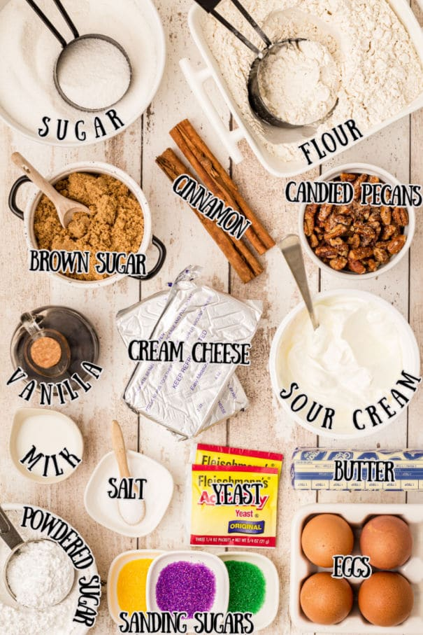king cake ingredients - with the images of the ingredients underneath print