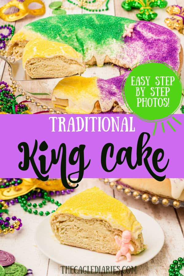 two images of king cake - one of a slice being taken out of the king cake - the other image of a plated slice surrounded with mardi gras decorations.