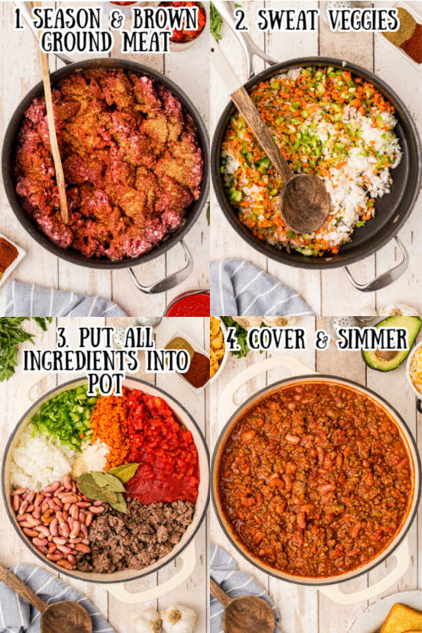 4 process step pictures of how to make deer chili - 1. season and brown ground meat, 2. sweat veggies, 3. add all ingredients to pot. 4. Cover and simmer