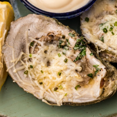 close up of chargrilled oyster