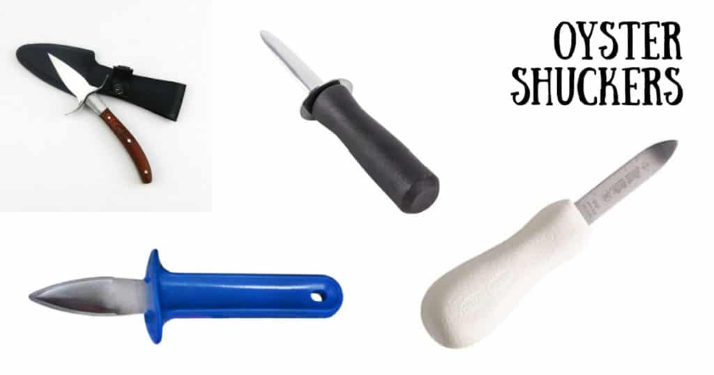 4 different oyster shuckers - one blue handle, one black handle, one white handle, one wooden handle