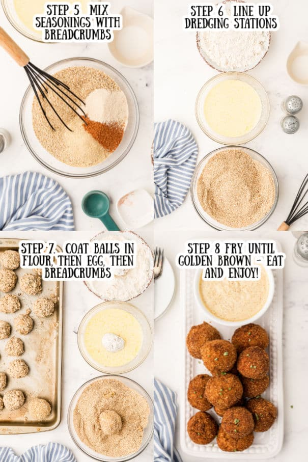 step 5 image of a mixing bowl with breadcrumbs and seasonings about to be mixed.  Step 6  an image of three dredging bowls lined up   Step 7  boudin balls being passed through the dredging bowls  Step 8  fried boudin balls on a plate