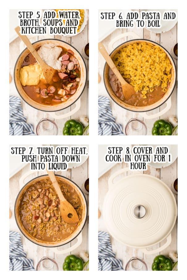 steps 5 thru 8 on how to make pastalaya