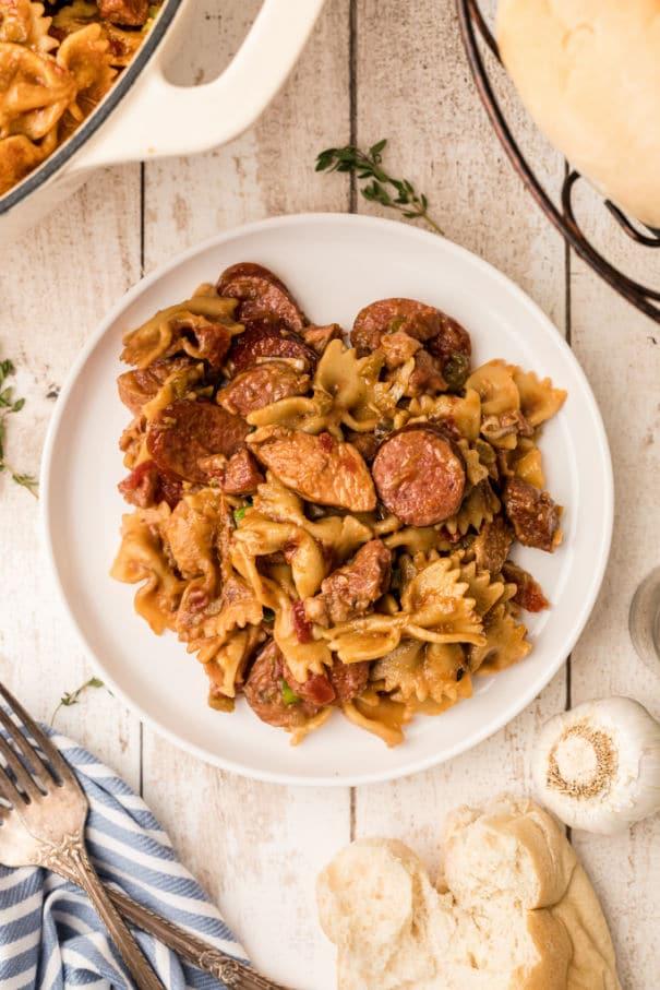 This Pastalaya Recipe is a Cajun favorite!  A change up from Jambalaya, using pasta instead of rice, this pastalaya recipe has all the tastes of a Jambalaya!  Chicken, pork, smoked sausage and pasta with Cajun seasonings.  Comfort food at it's best - Pastalaya.