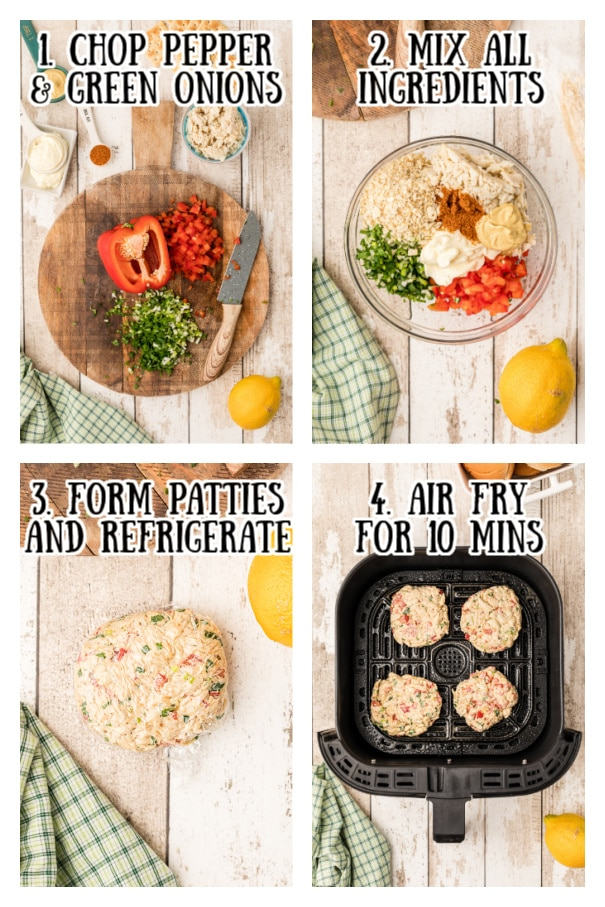 Steps to making a air fryer crab cake  - 1. chop pepper and green onions.  2. Mix all ingredients, 3. Form patties, 4. Air fry for 10 minutes.
