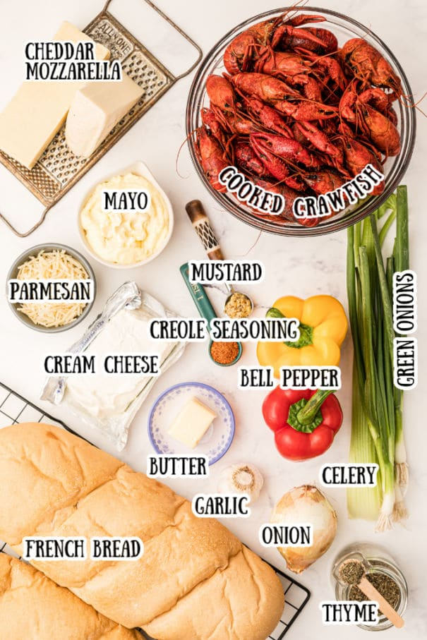layout of ingredients for a crawfish bread recipe