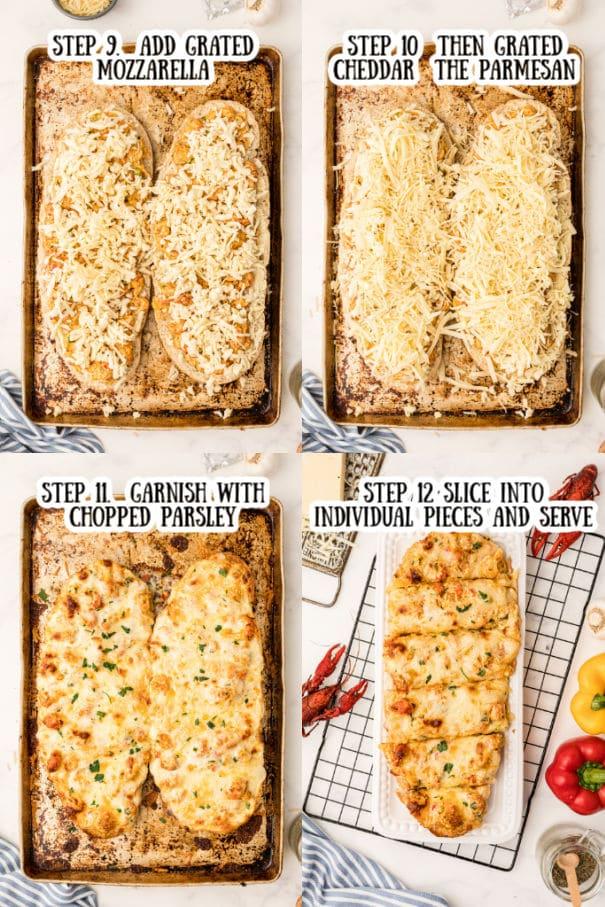 Steps nine through 12 on making crawfish bread