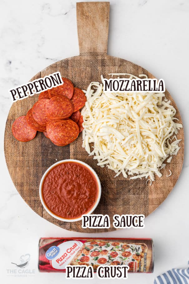 Air fryer pizza rolls ingredients - mozzarella, pepperoni, pizza sauce and pizza crust