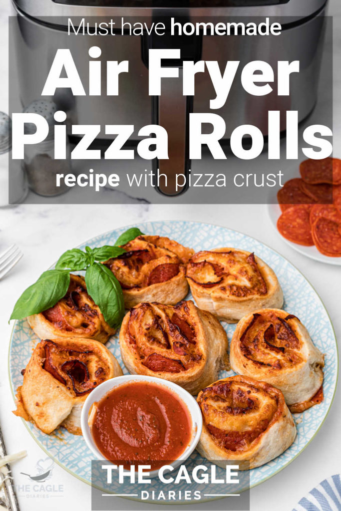 air fryer pizza rolls pinterest pin with a plate of pizza rolls and a dipping sauce