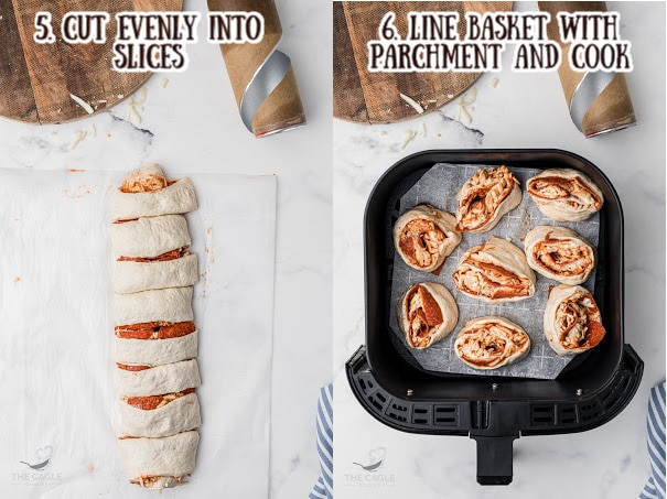 two images showing the process of how to make pizza rolls in the air fryer