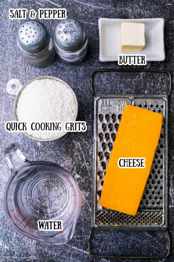 ingredients image showing what goes into cheese grits