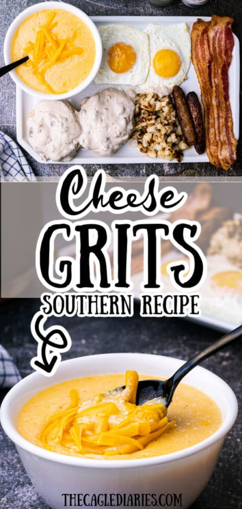 Pinterest pin with an image of a plated breakfast including a bowl of grits then another image at the bottom, a close up of the bowl of cheese grits
