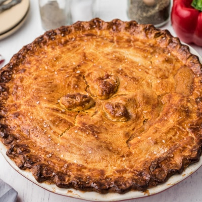 crawfish pie with a golden crust
