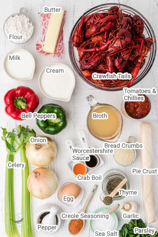 crawfish pie ingredients laid out with their names typed on top
