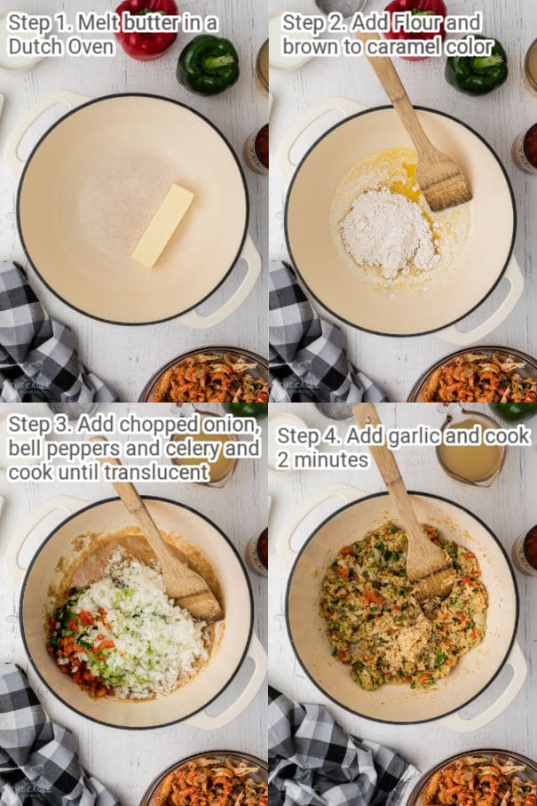 crawfish pie process shots 1 through 4