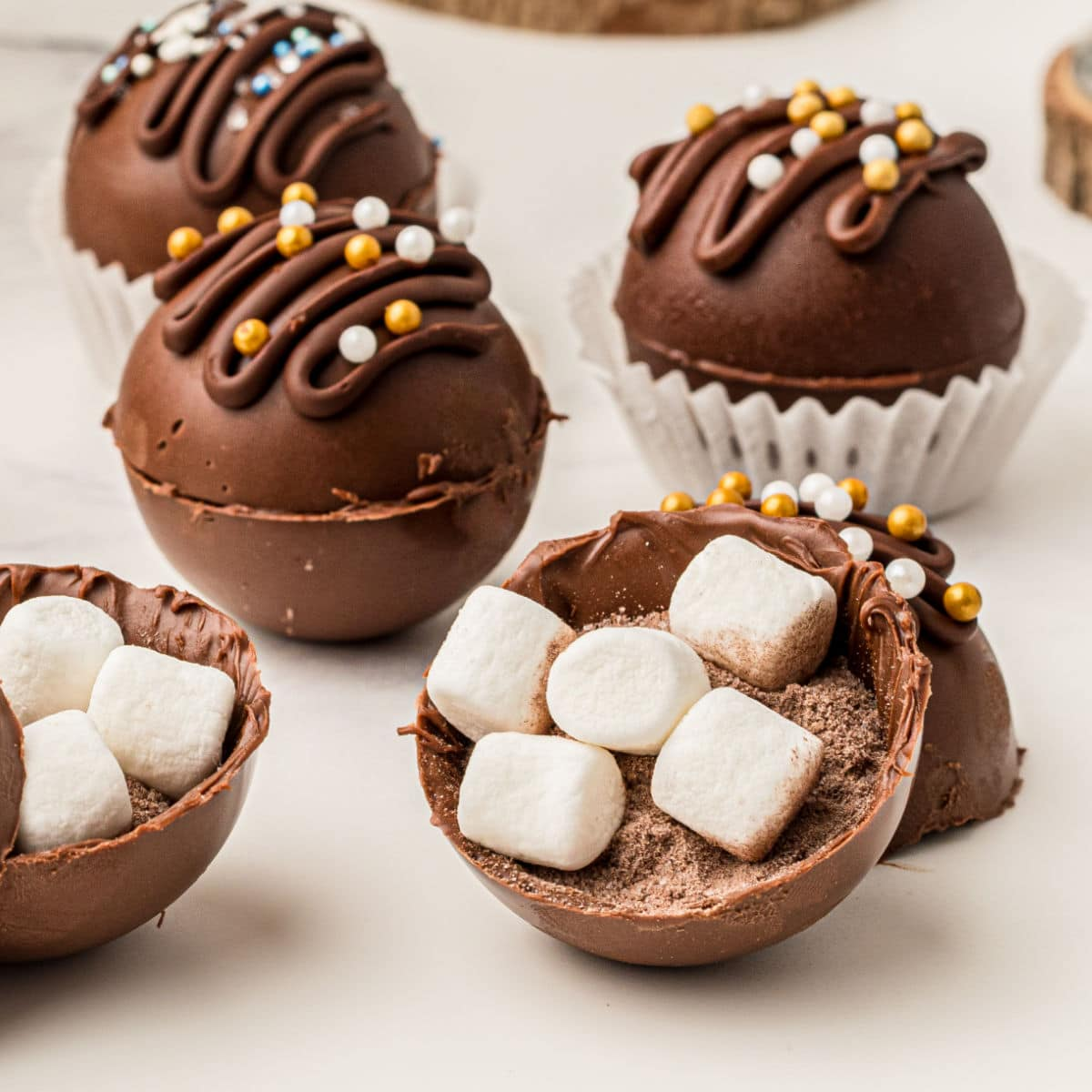 close up of the inside of a hot chocolate ball with the marshmallows