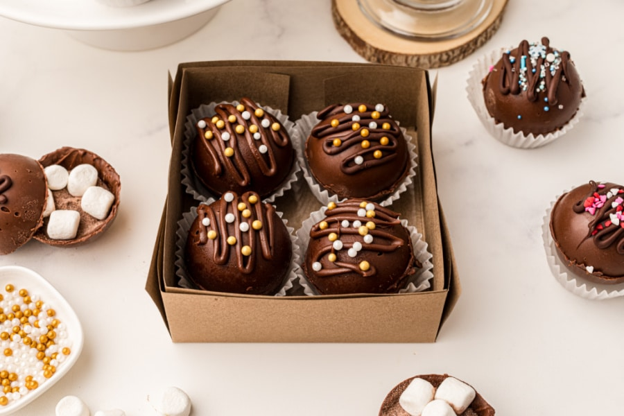 Gift box filled with hot chocolate bombs