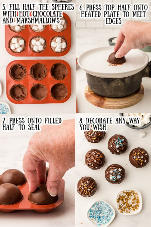 step by step pictures how to make hot chocolate bombs this is step 5 through 8