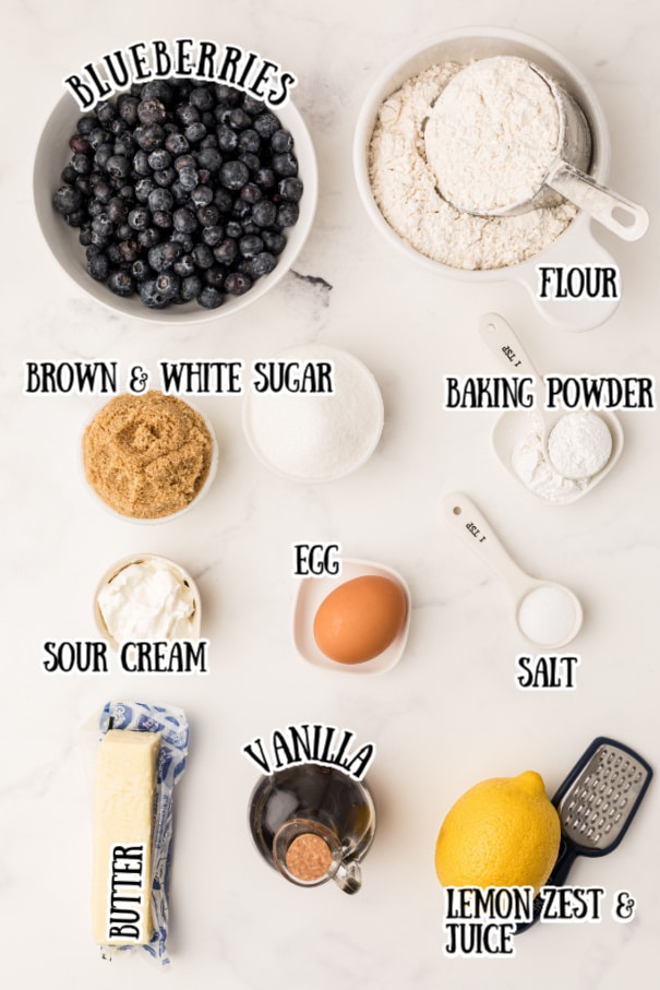 lemon blueberry muffins ingredients laid out with their name