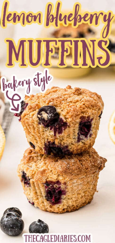 lemon blueberry muffins pinterest pin two muffins stacked up