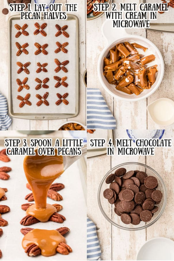 steps to making chocolate turtles - 4 images