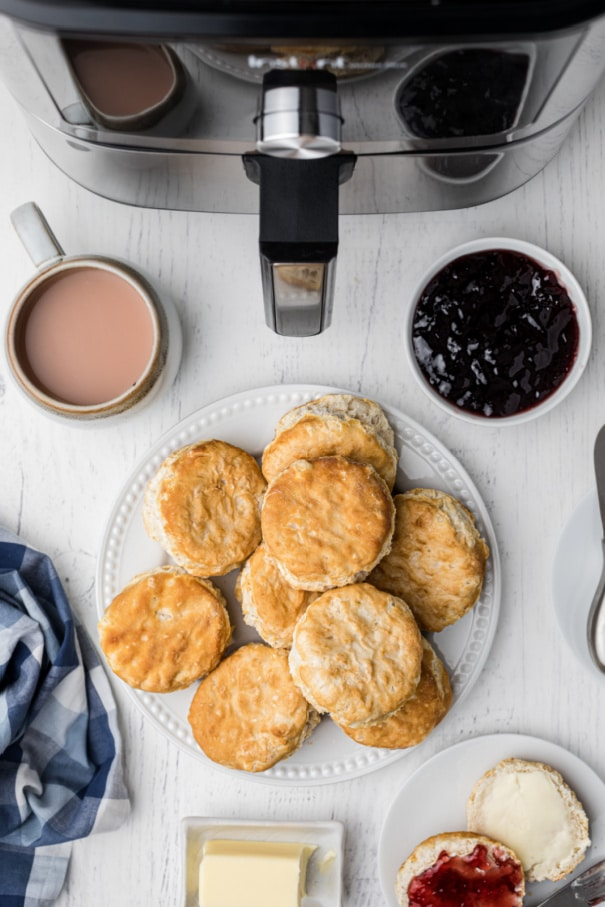 plate of biscuits with air fryer in the back