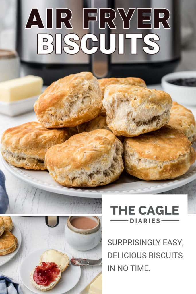 pinterest pin a plate of biscuits with an air fryer in the background